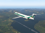 Alitalia nad Loch Lomond severne od Glasgow